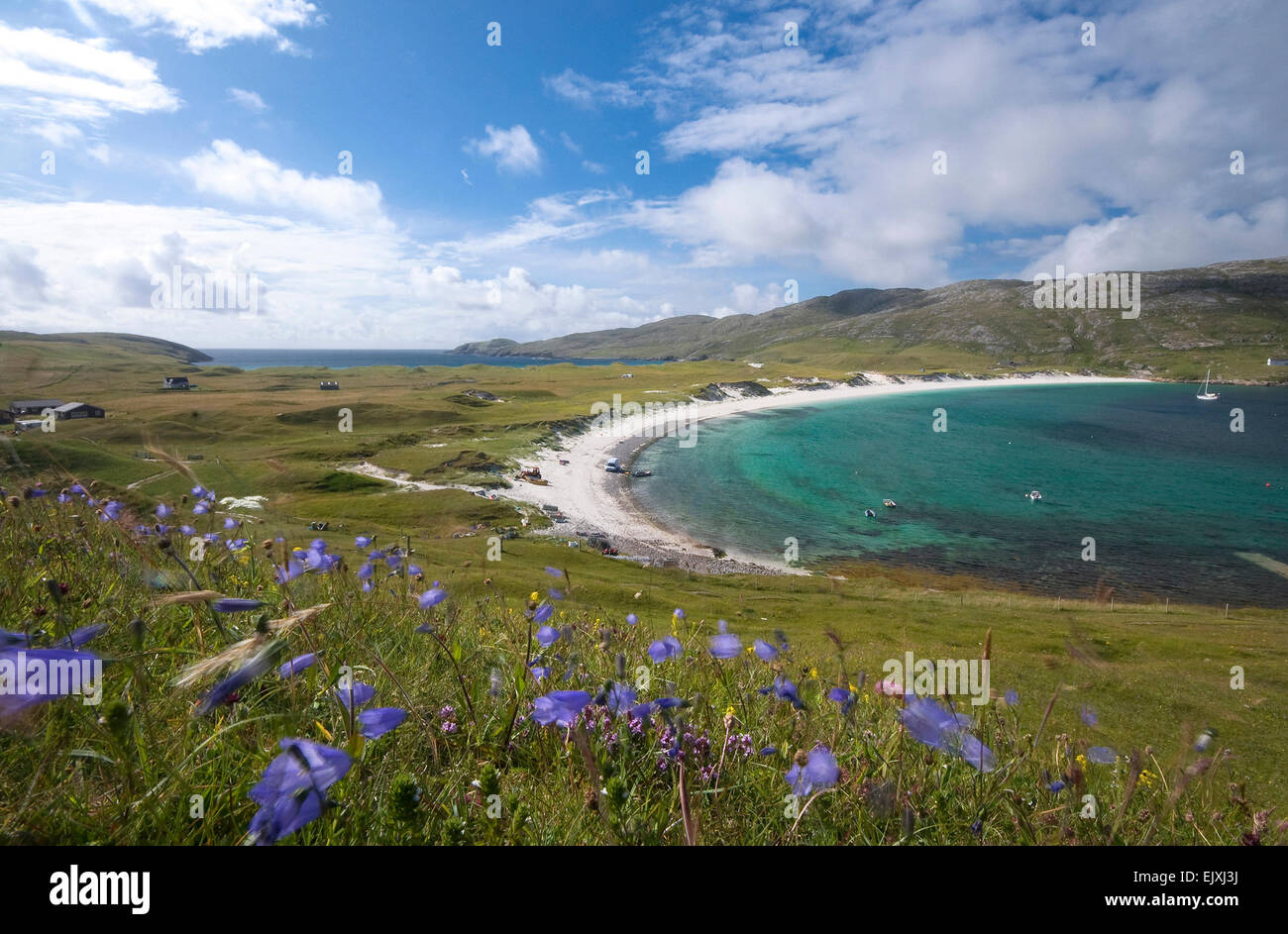 beach scene on vatersay barra outer hebrides Stock Photo
