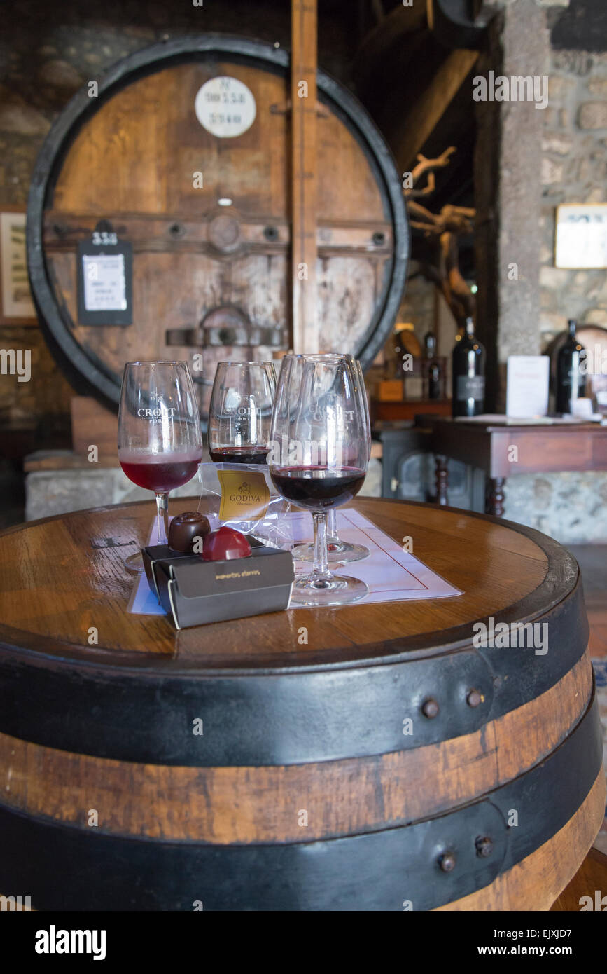 Port wine tasting with chocolates, Croft Port wine cellars Porto Portugal - Stock Image