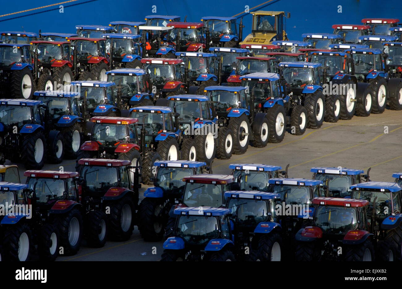 AJAXNETPHOTO - 13 OCT 2006 - SOUTHAMPTON, ENGLAND -TRACTOR IMPORTS PARKED ON THE QUAY. PHOTO:JONATHAN EASTLAND/AJAX - Stock Image