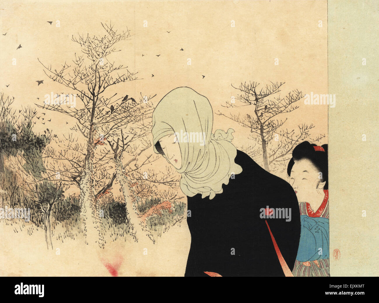 Japanese woman in scarf and kimono with maid walking in a wintry landscape with bare trees. - Stock Image