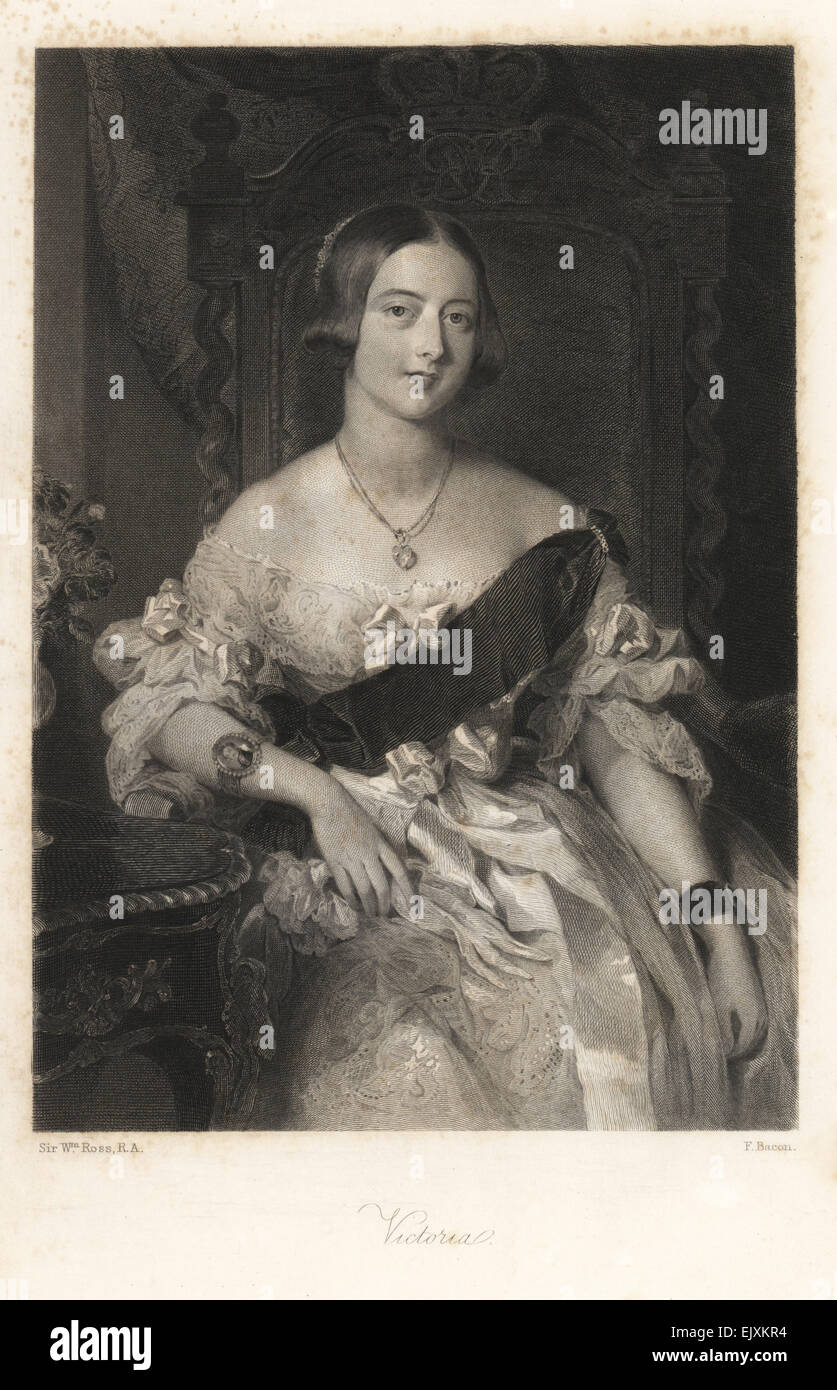Portrait of Queen Victoria wearing a bracelet with an enamel portrait of Prince Albert. - Stock Image