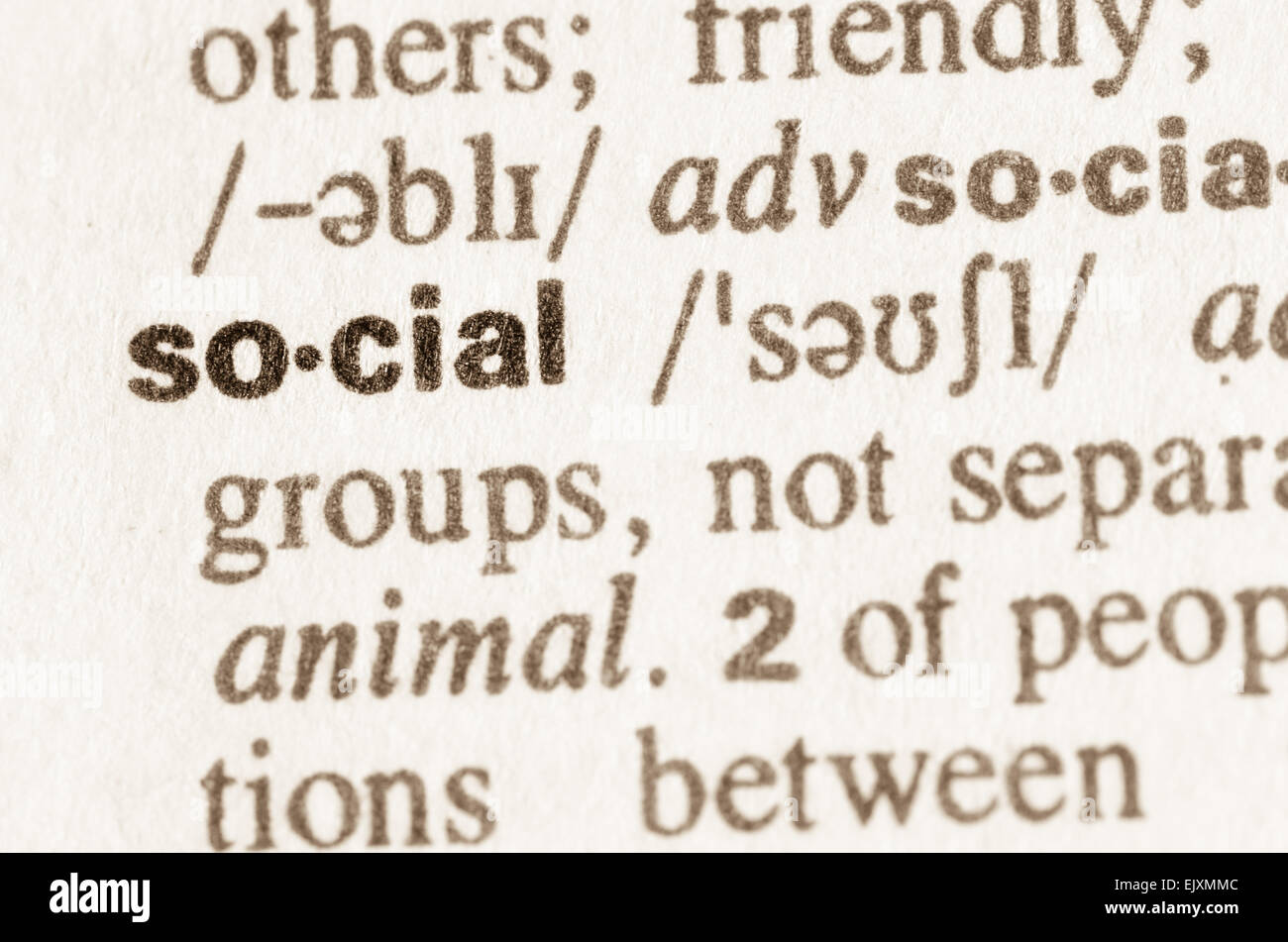 Definition of word social in dictionary Stock Photo
