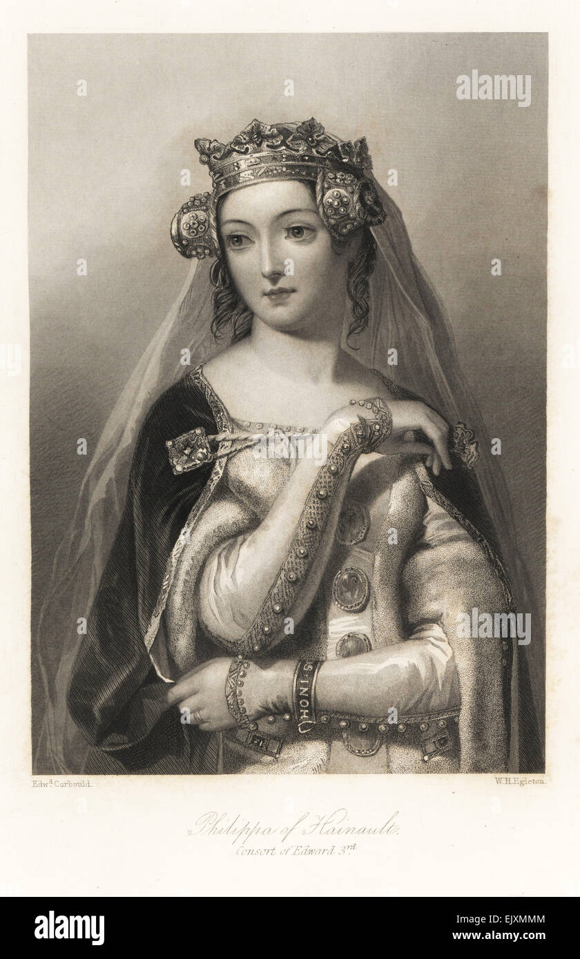 Philippa of Hainault, consort of King Edward III of England. - Stock Image