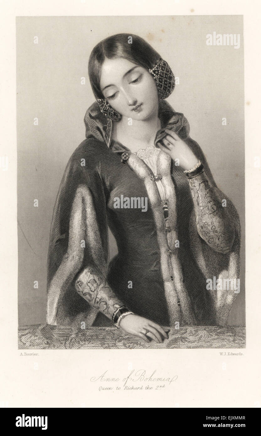 Anne of Bohemia, queen of King Richard II of England. - Stock Image