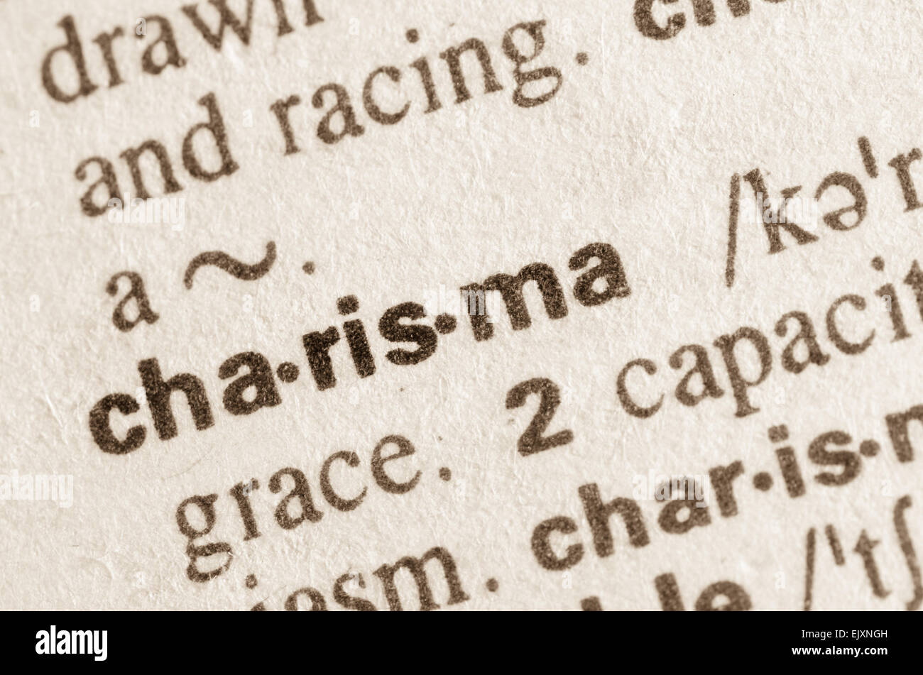 Definition of word charisma in dictionary - Stock Image