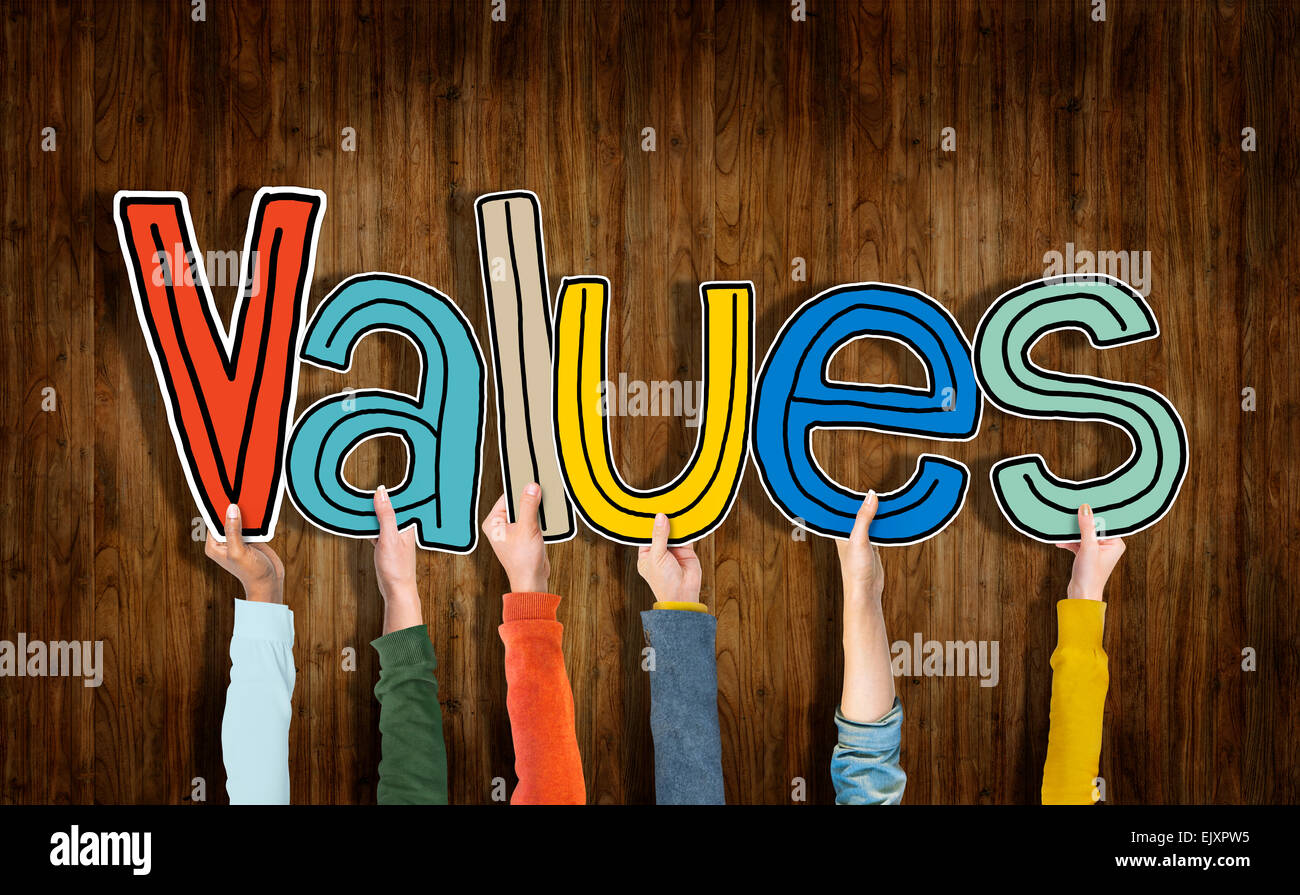 Group of Hands Holding Word Values - Stock Image
