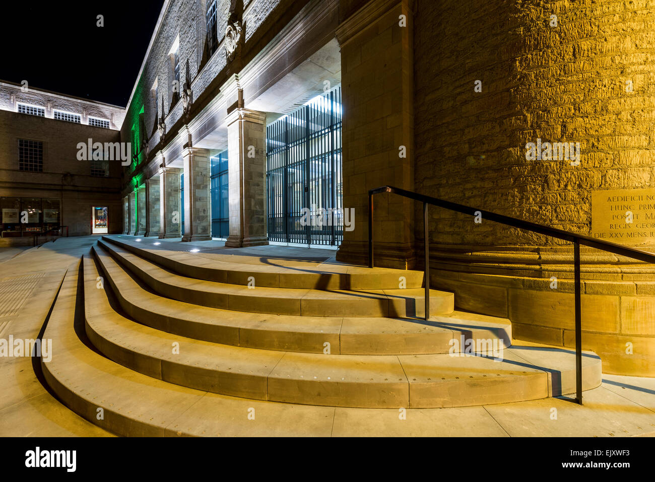 The front steps of the New Bodleian Library, part of Oxford University, seen here at night - Stock Image