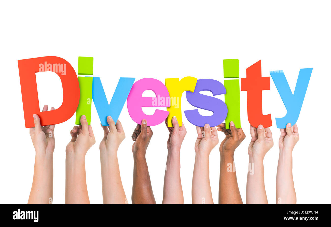 Diverse Hands Holding The Word Diversity - Stock Image