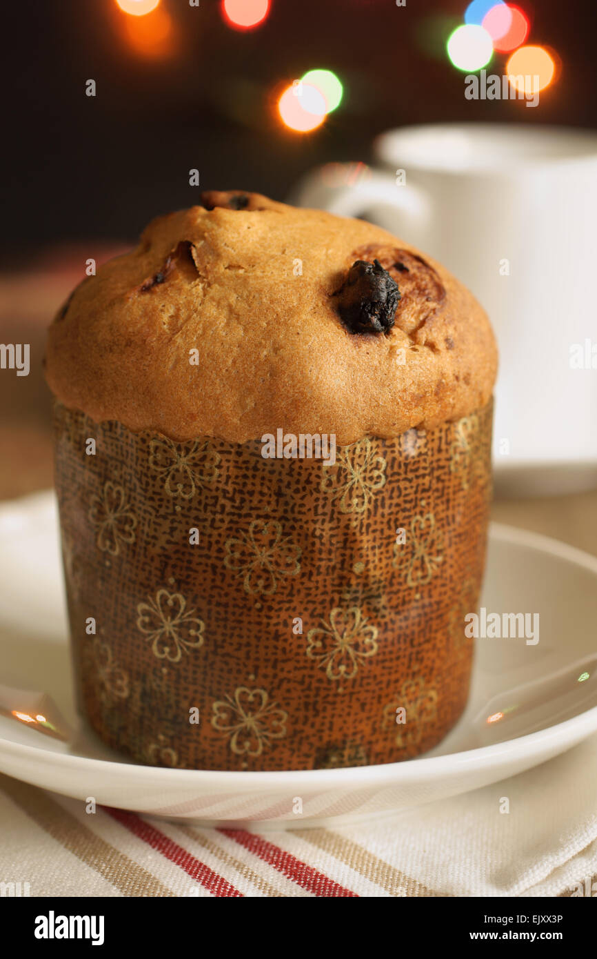 Panettone a sweet fruit cake loaf originally originating from Milan Italy traditionally eaten at Christmas - Stock Image
