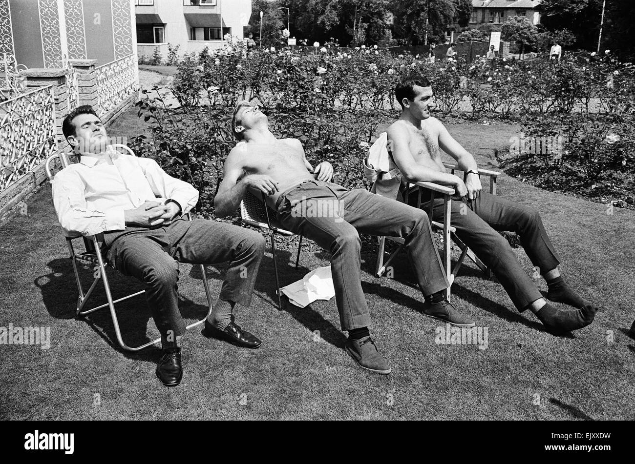 1966 World Cup The England squad at their base in Hendon where they stayed throughout the tournament.  Sunbathing. - Stock Image