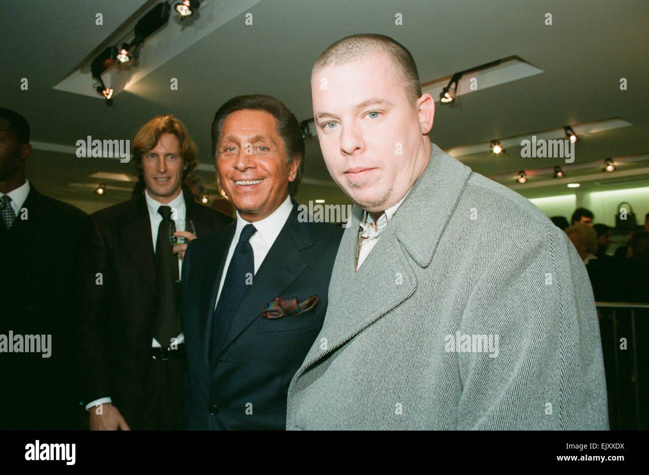 67d262726a52b British fashion designer Alexander McQueen (right) seen here with Valentino  at the opening of