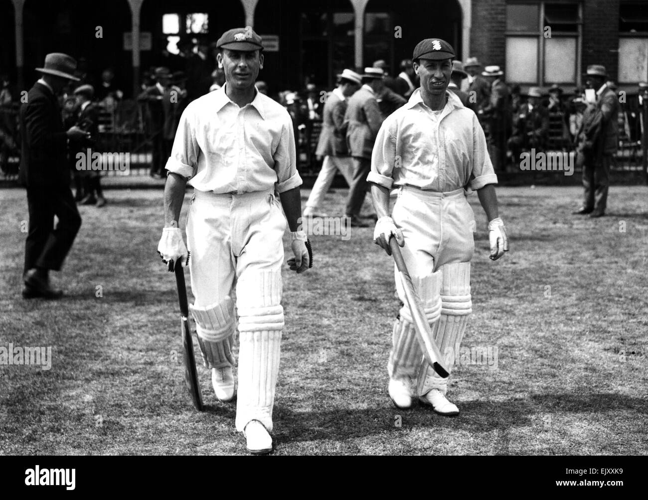Kent v Surrey. Jack Hobbs (left) and Andrew Sandham walk out to open the batting for Surrey. 23rd July 1923. - Stock Image