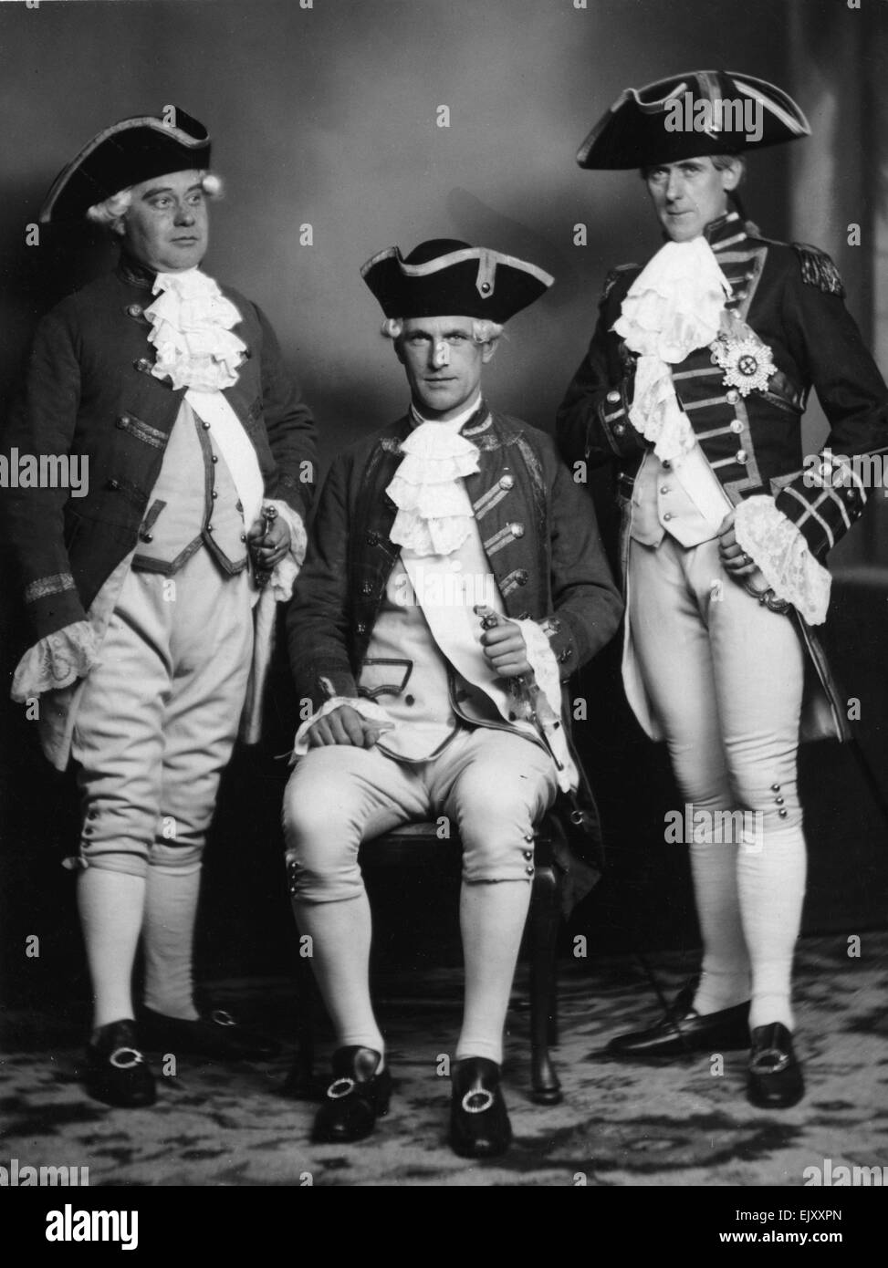 H Chapman, Bolber and A J Smith in a scene from a play about Lord Nelson. 19th  January 1926. - Stock Image
