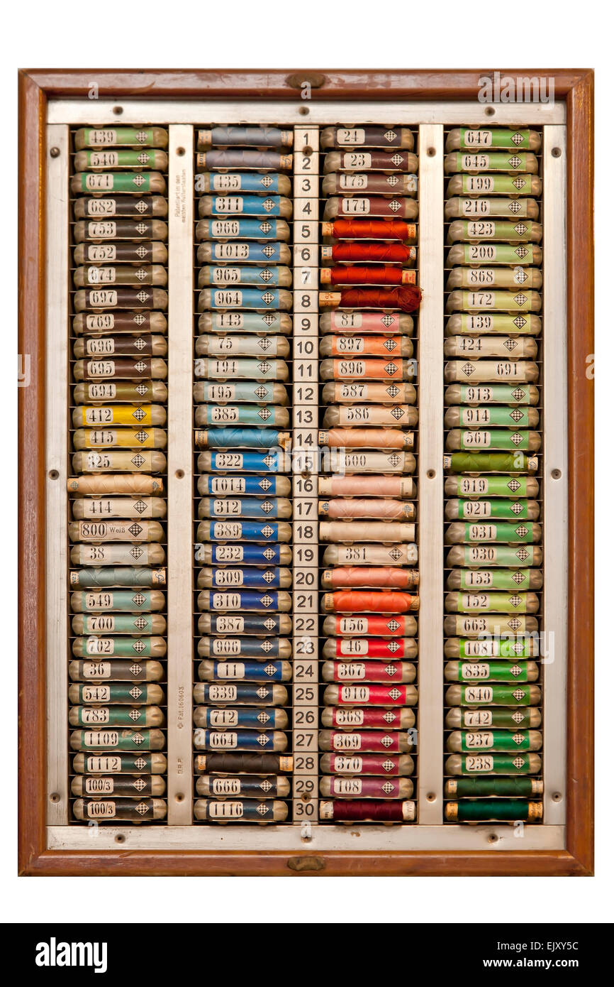 Display of colourful sewing threads - Stock Image