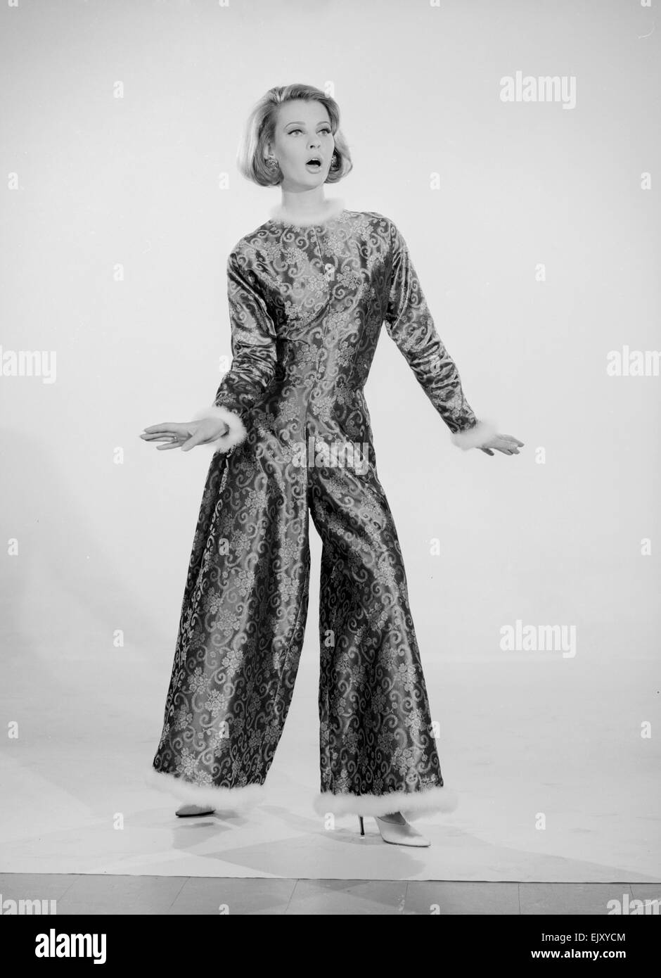 5fded7f932d9d Reveille Model Dawn Chapman modelling Pyjama Suit. Circa May 1963 - Stock  Image