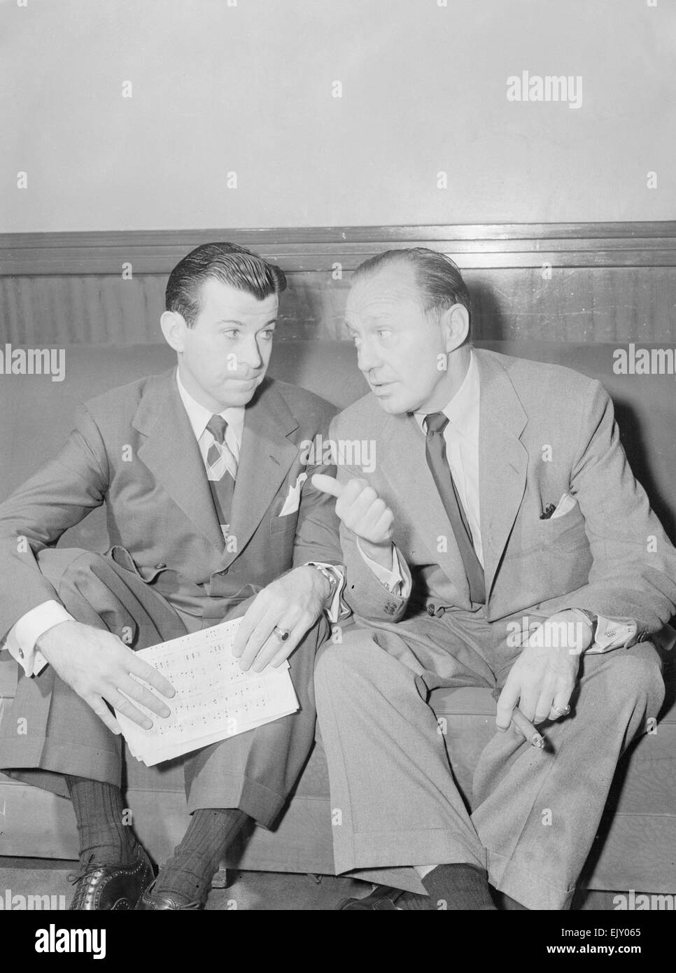 Comedian Jack Benny (right) seen here with singer Dennis Day (left). 2nd June 1952 - Stock Image