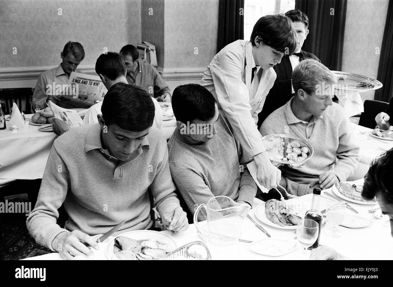 1966 World Cup  The England squad at their base in Hendon where they stayed throughout the tournament.  The players - Stock Image