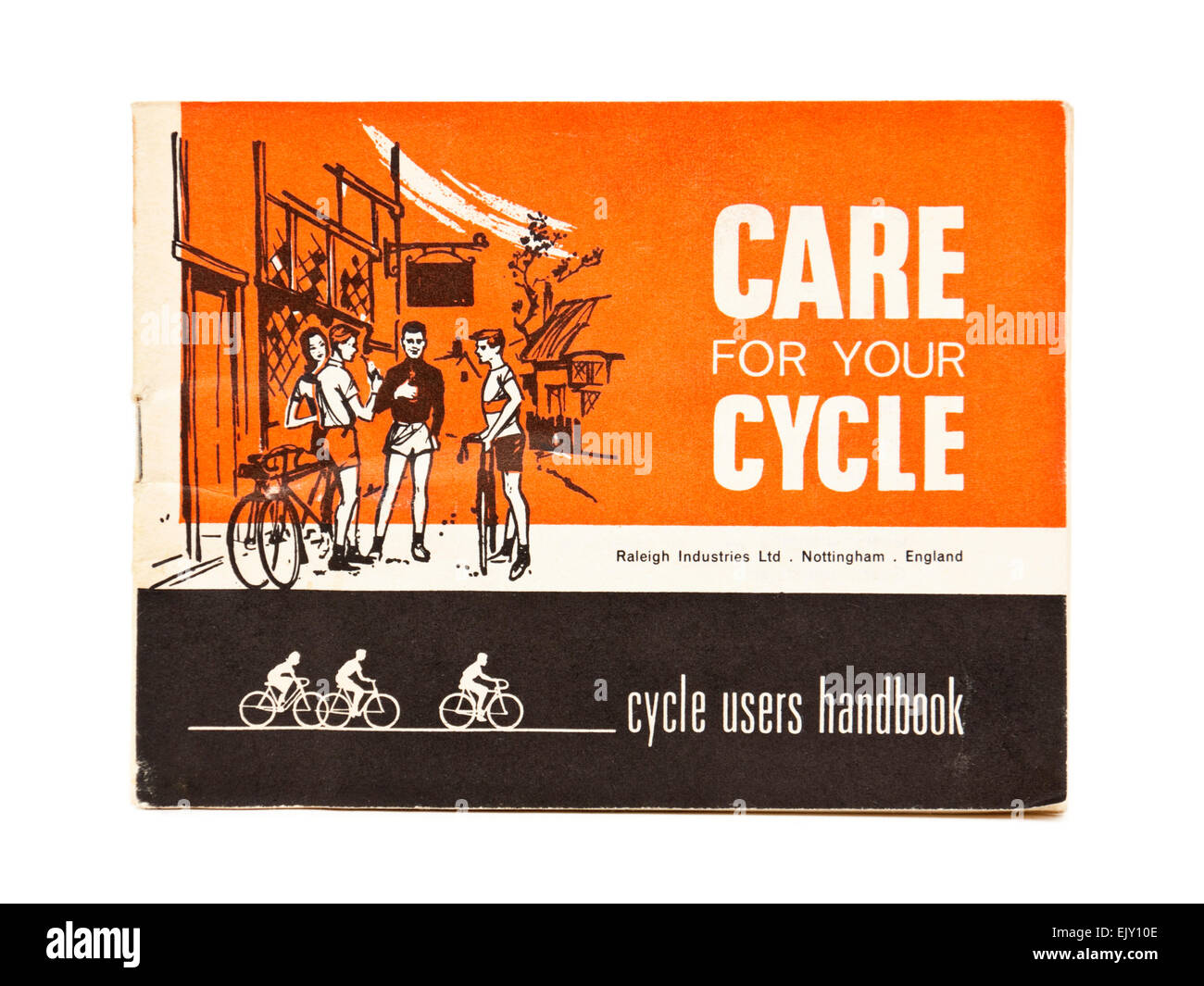 Vintage 1950's 'Care For Your Cycle' handbook by Raleigh Industries Ltd, Nottingham, England - Stock Image