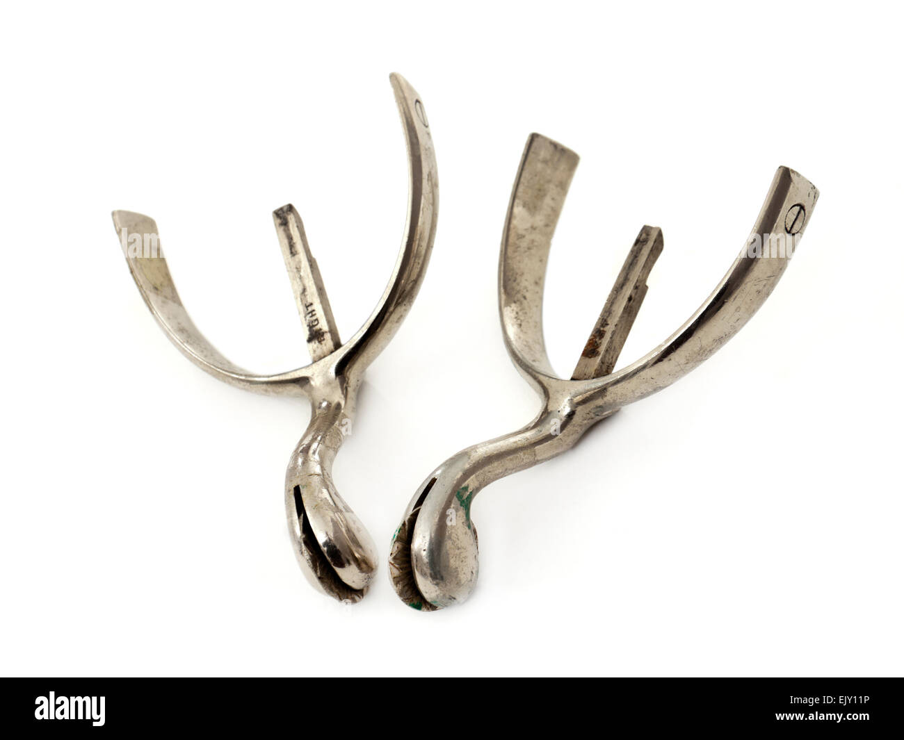 Vintage British army Officer's boot spurs made by Henry Maxwell, 8-9 Dover Street, London - Stock Image
