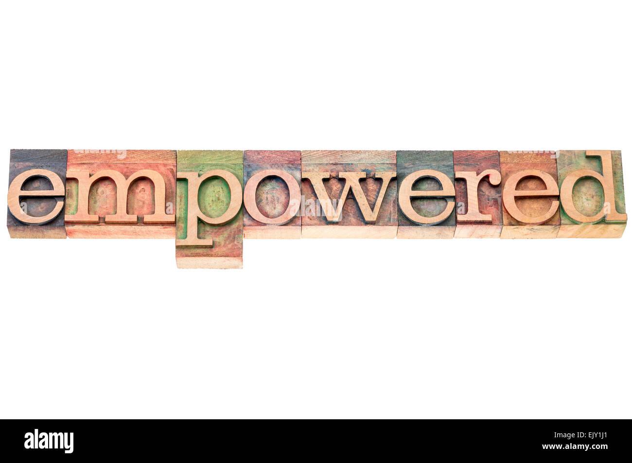 empowered word typography - isolated text in letterpress wood type Stock Photo