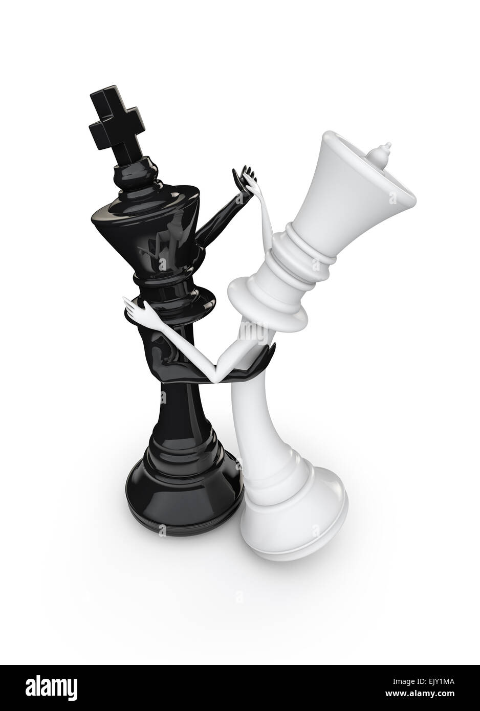 3d render of black chess king and white queen dancing
