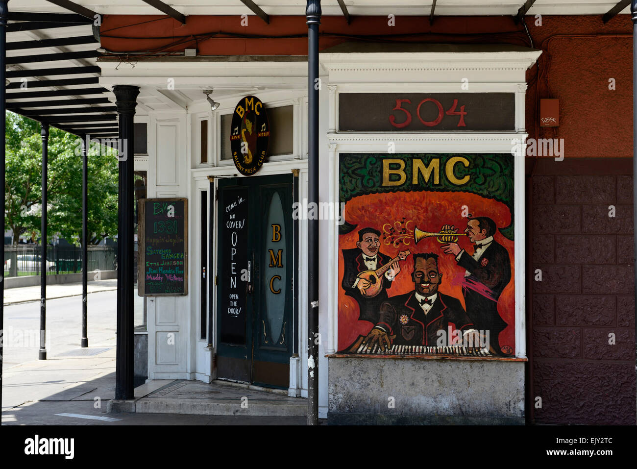 Balcony Music Club Rue Decatur jazz french quarter new orleans musical muscians RM USA - Stock Image