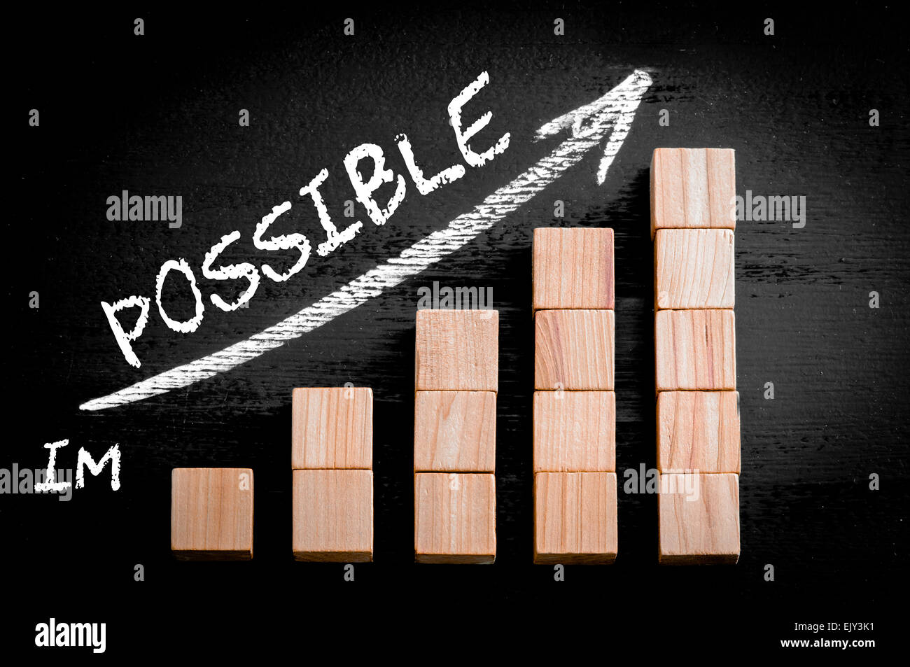 Word Possible on ascending arrow above bar graph of Wooden small cubes isolated on black background. Chalk drawing - Stock Image