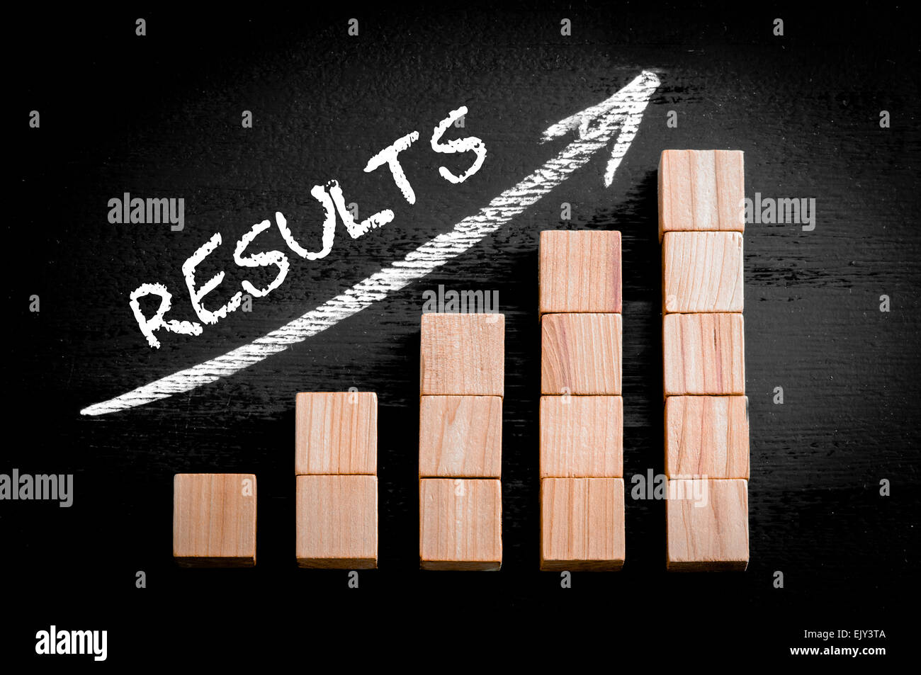 Word Results on ascending arrow above bar graph of Wooden small cubes isolated on black background. Chalk drawing - Stock Image
