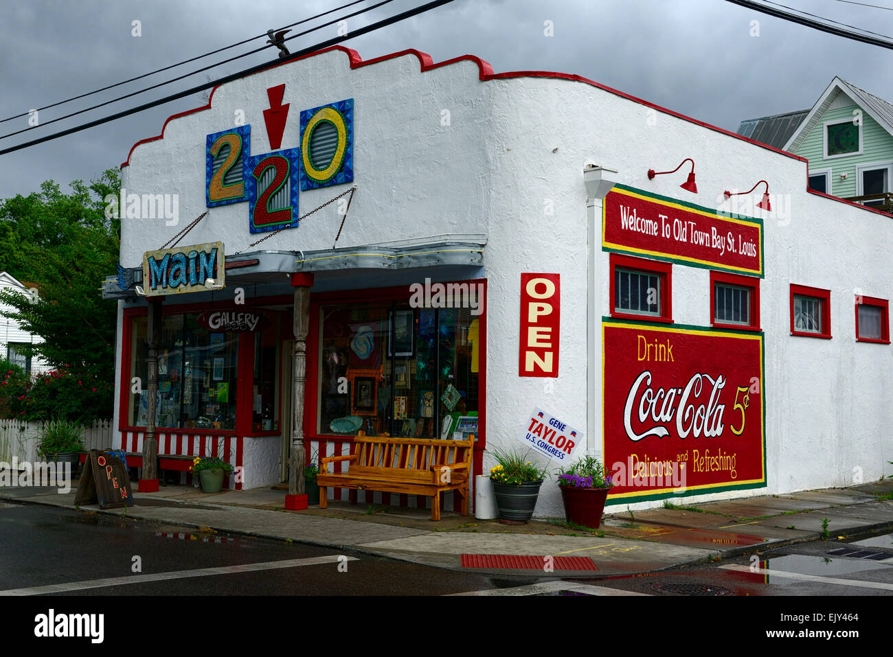cafe coffee shop refreshments drinks old town bay st louis Mississippi colorful shop historic gulf coast RM USA - Stock Image
