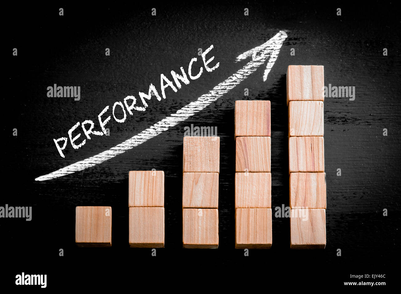 Word Performance on ascending arrow above bar graph of Wooden small cubes isolated on black background. Chalk drawing - Stock Image