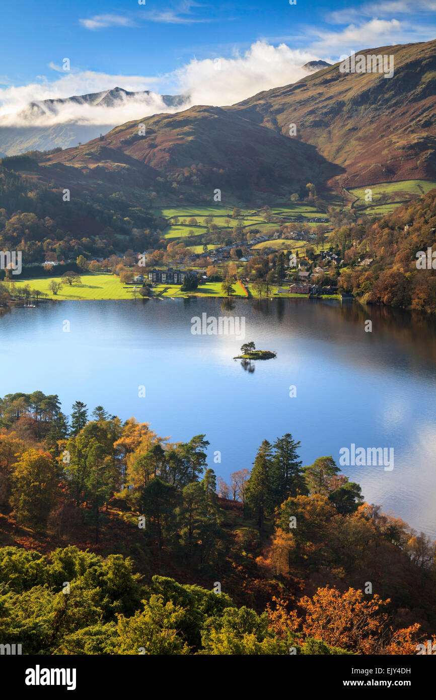 Ullswater in the Lake District National Park, captured from Silver Crag with Glenridding and Helvellyn in the distance. - Stock Image