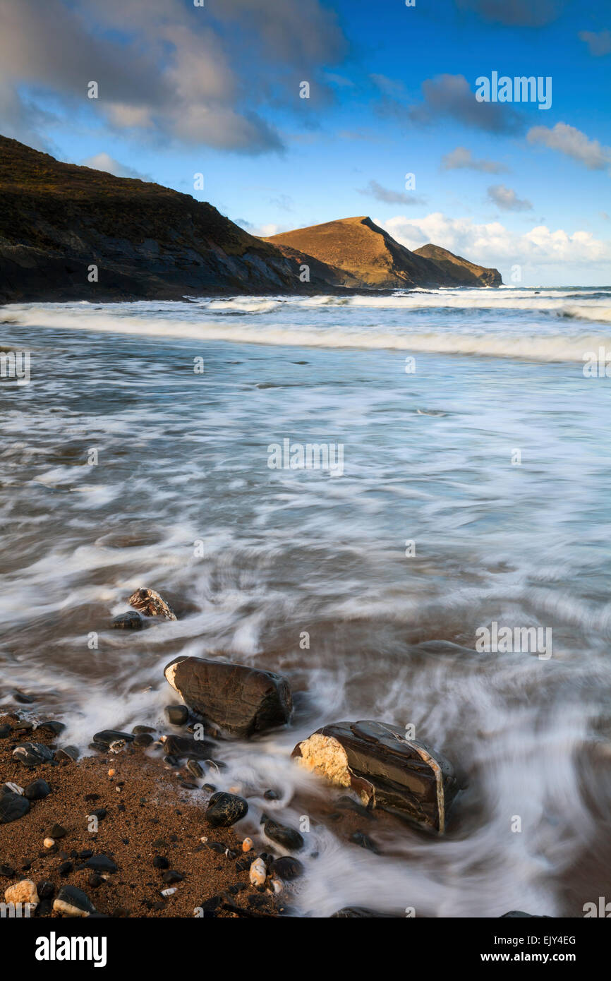 The beach at Crackington Haven in North Cornwall. - Stock Image