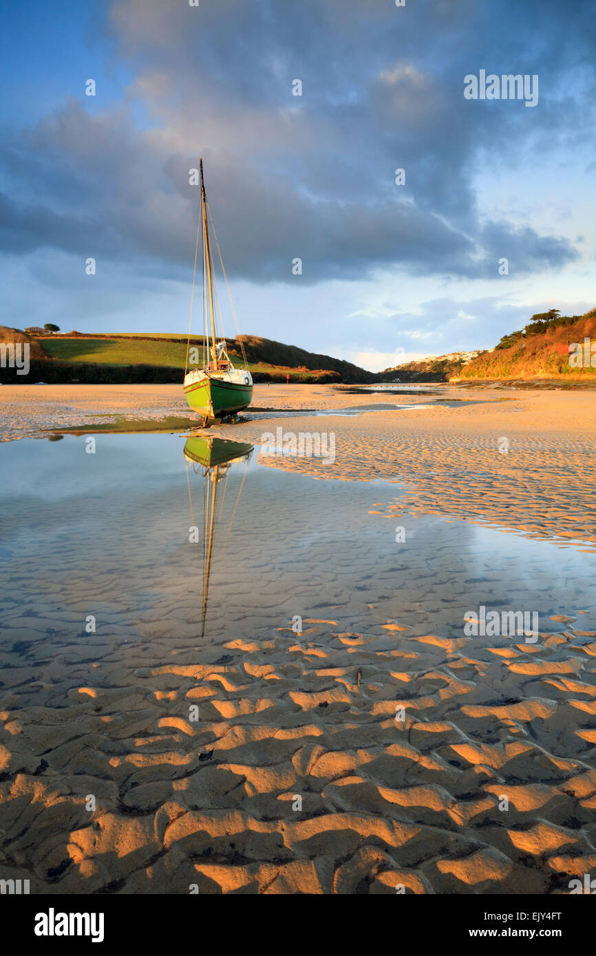 The Gannel Estuary near Newquay in Cornwall. - Stock Image