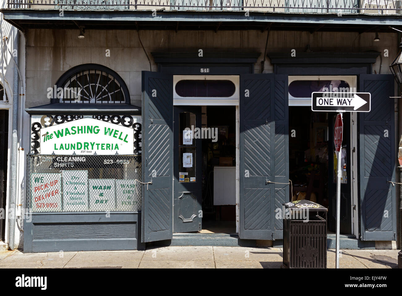 wishing well laundryteria laundromat dry cleaners bourbon street business new orleans RM USA - Stock Image