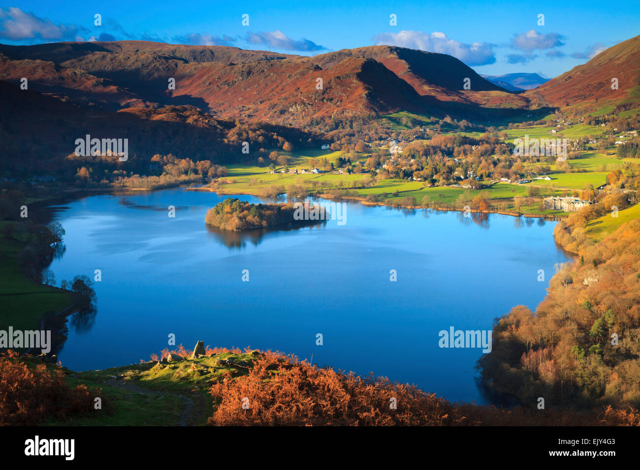 Grassmere in the Lake District National Park, captured from Loughrigg Fell. - Stock Image
