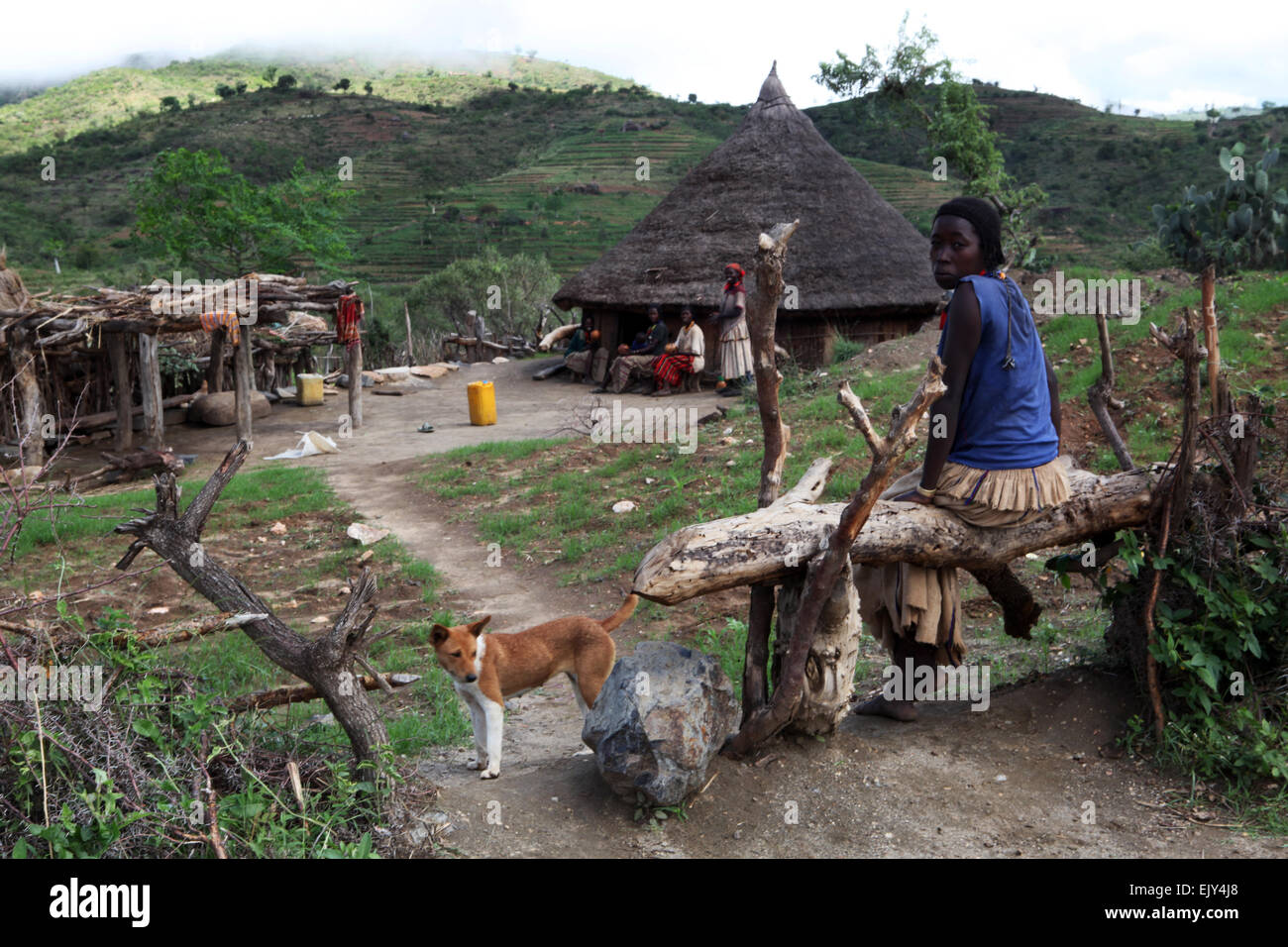 A home in the Omo Valley of Ethiopia. - Stock Image