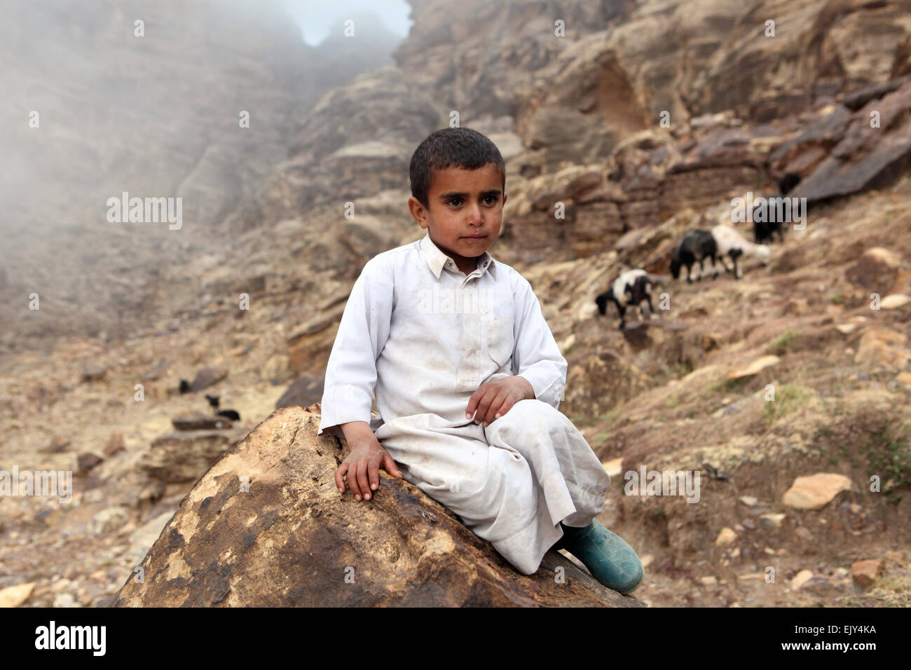 A young boy in Kawkaban, Yemen. - Stock Image