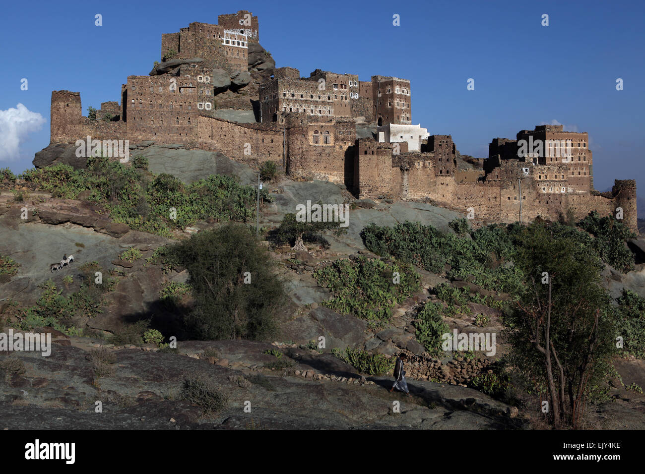 Town in the Haraz mountains, Yemen. - Stock Image