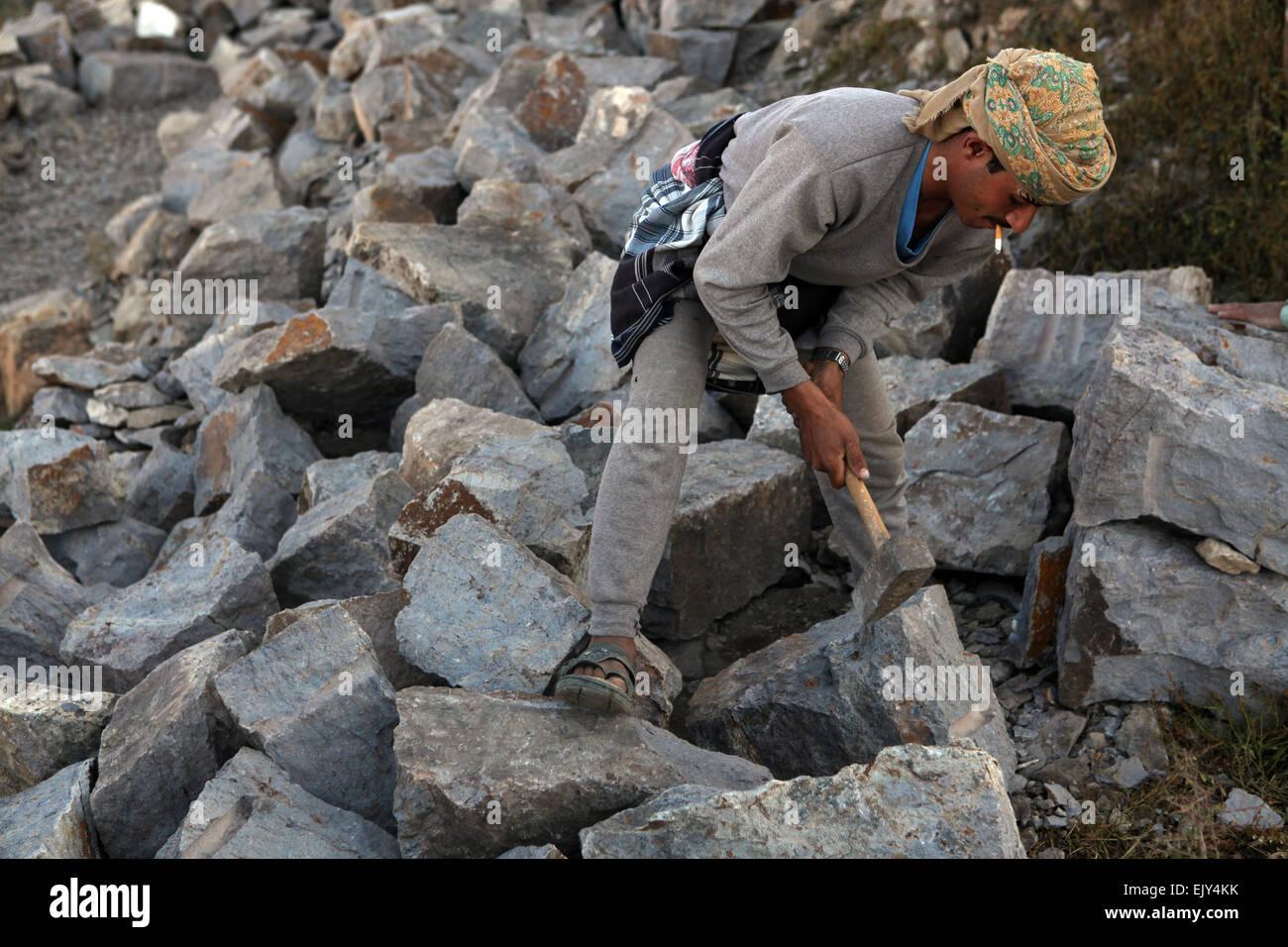 Construction worker in Sanaa, Yemen. - Stock Image
