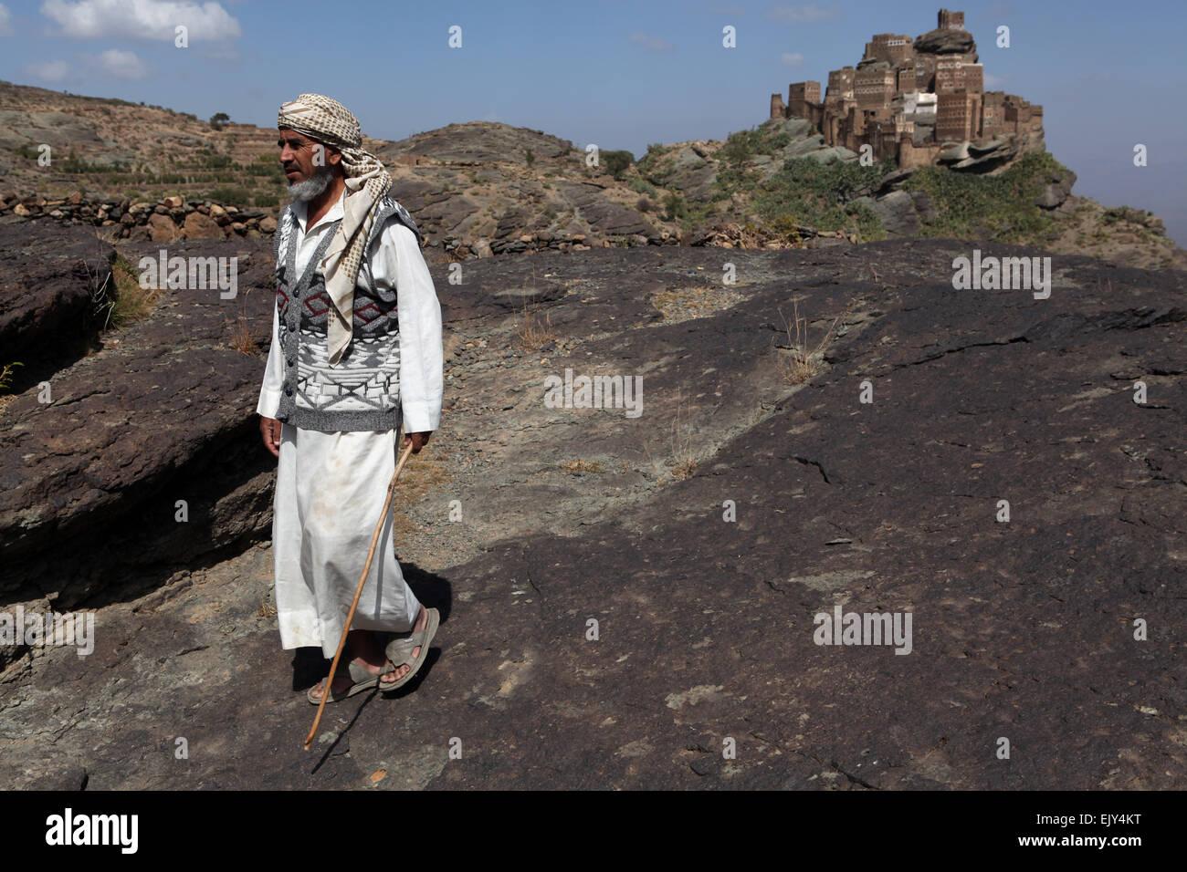 Shepherd in rural Yemen. - Stock Image