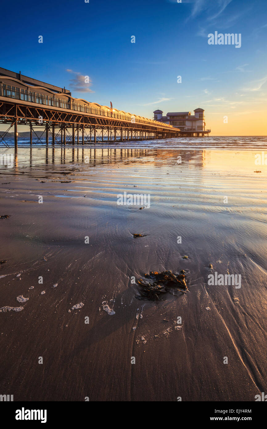 The pier at Weston-Super-Mare captured shortly before sunset. - Stock Image