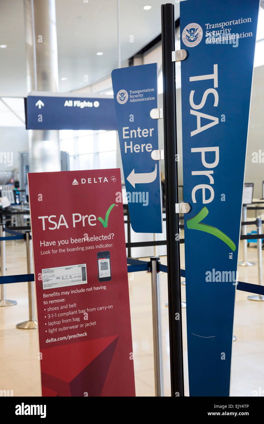 Romulus, Michigan - A sign at Detroit Metro Airport explains the Transportation Security Administration's pre - Stock Image
