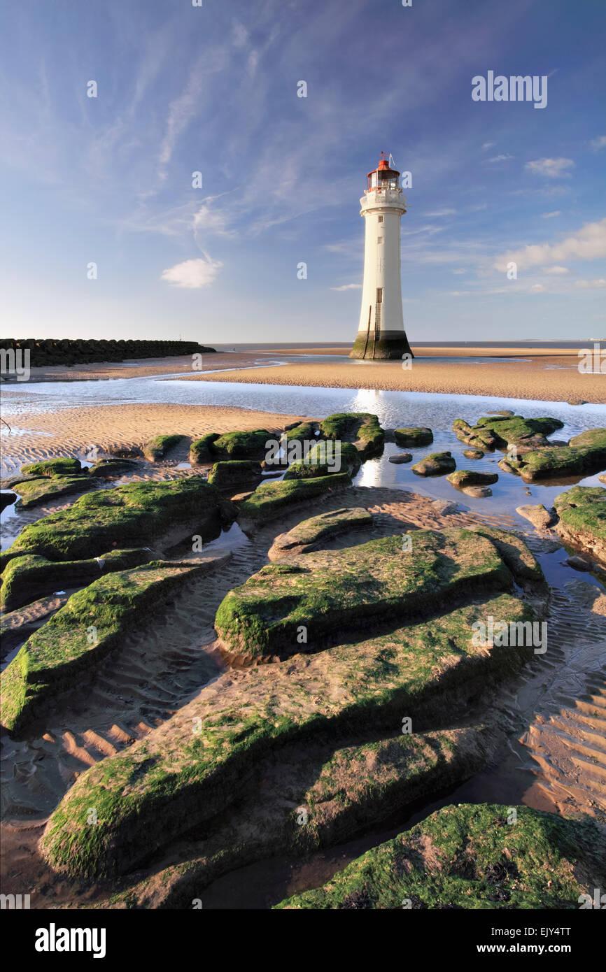 New Brighton Lighthouse on the Wirral near Birkenhead - Stock Image