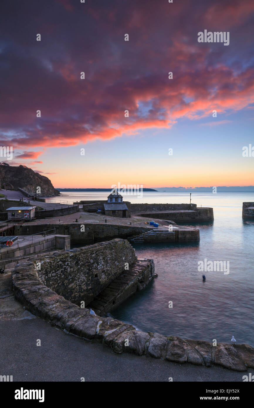 Sunrise at the historic harbour at Charlestown inCornwall, that used during the filming of the TV series Poldark. - Stock Image