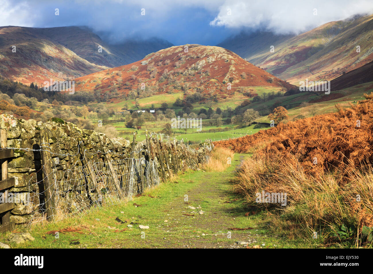 The Tongue in the Troutbeck Valley in the Lake District National Park, captured from a public footpath. - Stock Image
