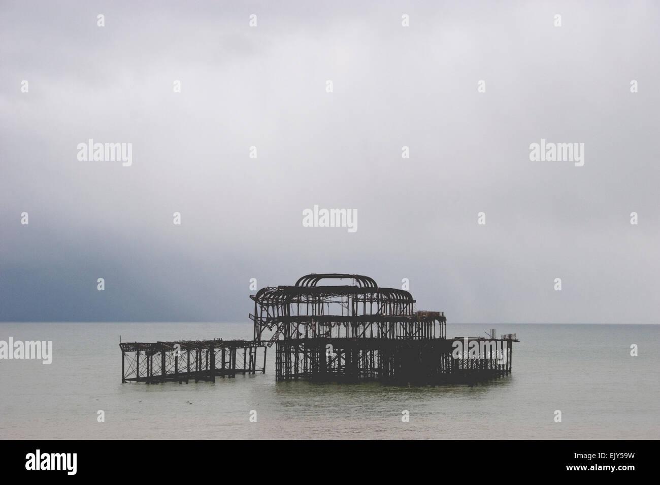 Brighton pier west ruin - Stock Image