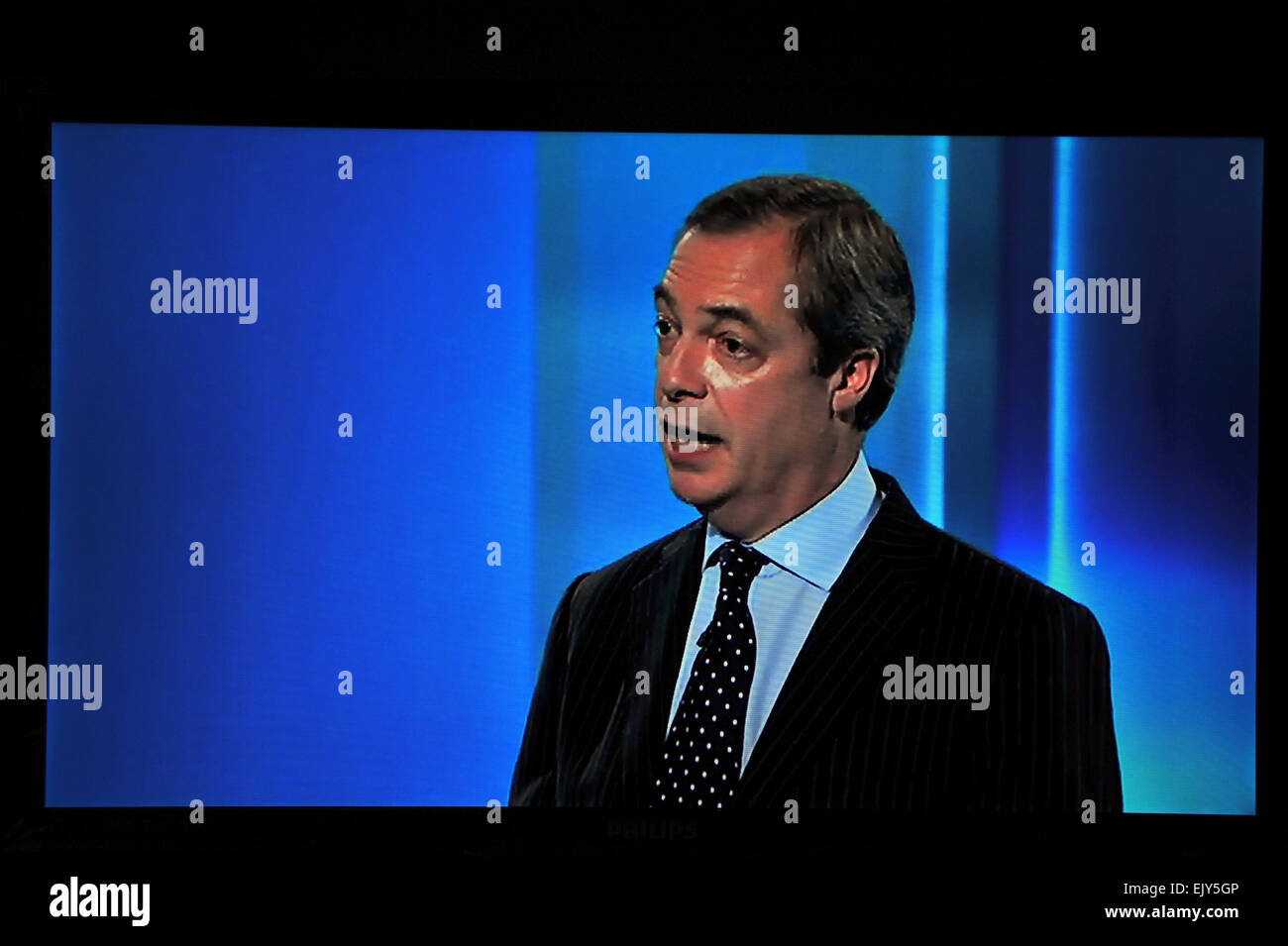 Nigel Farage the leader of UKIP participates in the 7-way UK election leaders debate on live TV. - Stock Image