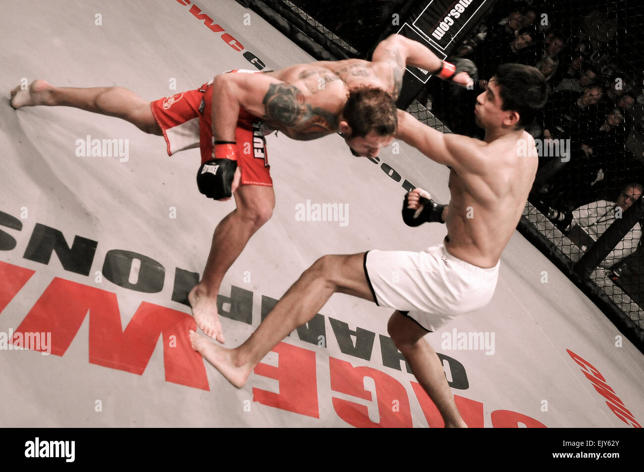 UFC MMA star Rich Clementi punches his opponent - Stock Image