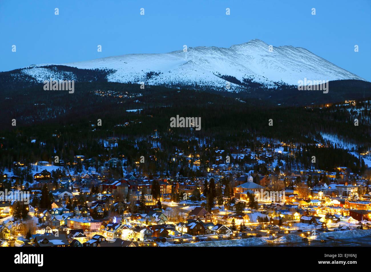 Snow-covered Bald Mountain and Breckenridge, Colorado USA Stock Photo