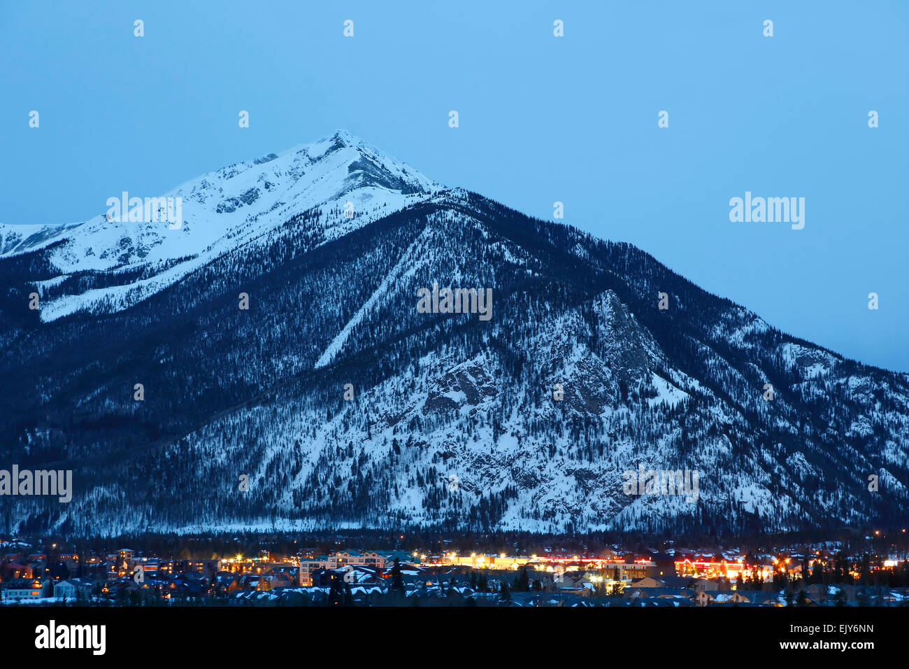 Ten Mile Peak (aka Peak 1) and town of Frisco, Colorado USA - Stock Image